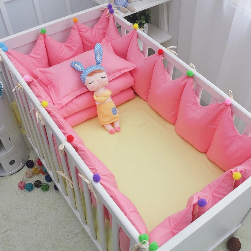 6 Pcs Crib Bedclothes Luxury Baby Cotton Bedding Set Various Size Cot Linens Include Crown Bumpers Bed Sheet Pillow with Filling