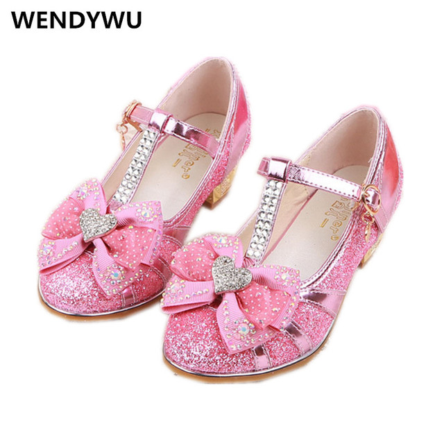 WENDYWU princess gilrs rhinestone party heeled shoe for baby girls pu  leather shoe toddler fashion dance 0c9097971aed