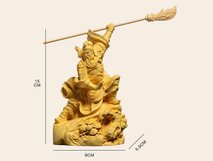 Wood Carving Guan Gong Decoration Pieces kaiguang Wu God of Wealth Wood Pass Two god Like Zhaocai Town House Guan Yu Statues
