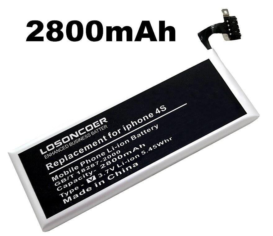 imágenes para Losoncoer 2800 mah batería batería del teléfono móvil para apple iphone 4s iphone4s envío libre mundial
