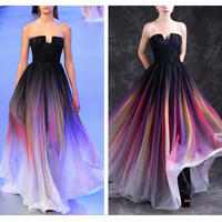 Fashion Sexy Quality Chiffon Elegant Long Party Formal Evening Dress Celebrity Inspired Dresses Vestido Longo De Festa