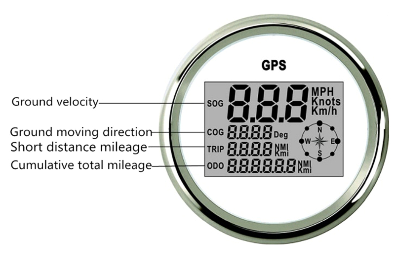 Waterproof Digital GPS Speedometer Odometer For Auto Marine Truck With 7 Color Backlight 3-3/8'' (85mm) 9-32V 2