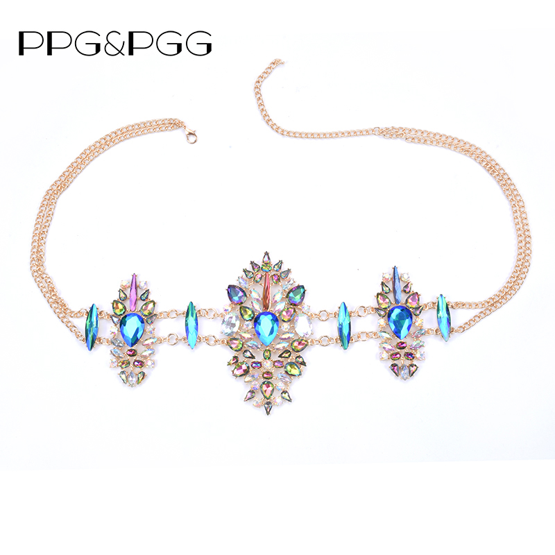 PPG&PGG Fashion Sexy body Charm Exaggerated Night Club Party crystal Prethoracic belly belt Chain Statement Women Necklace