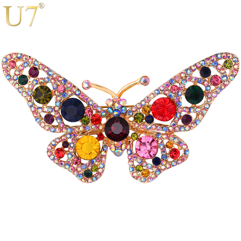 U7 Luxury Butterfly Colorful Rhinestone Brooches Women Costume Jewelry Party Gift for Her Beautiful Insect Brooch Pin B123