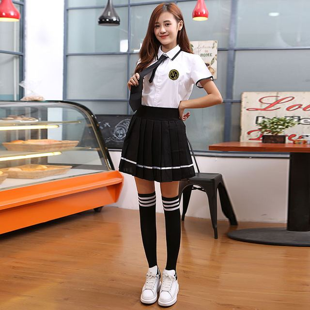 2018 winter JK Japanese School sailor uniform fashion school class navy sailor school uniforms for Cosplay girls suit 3Pcs / Set