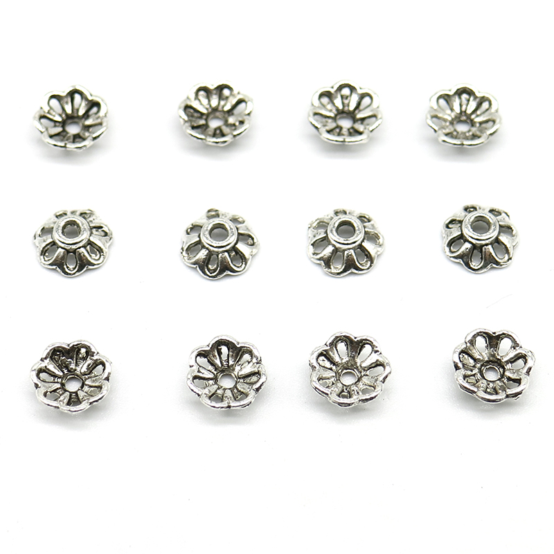 200pcs/lot Zinc Alloy Bead Caps Tibetan Silver Plated Flower Beads End Caps Charms For Jewelry Making Findings 8mm Hole Is 2mm