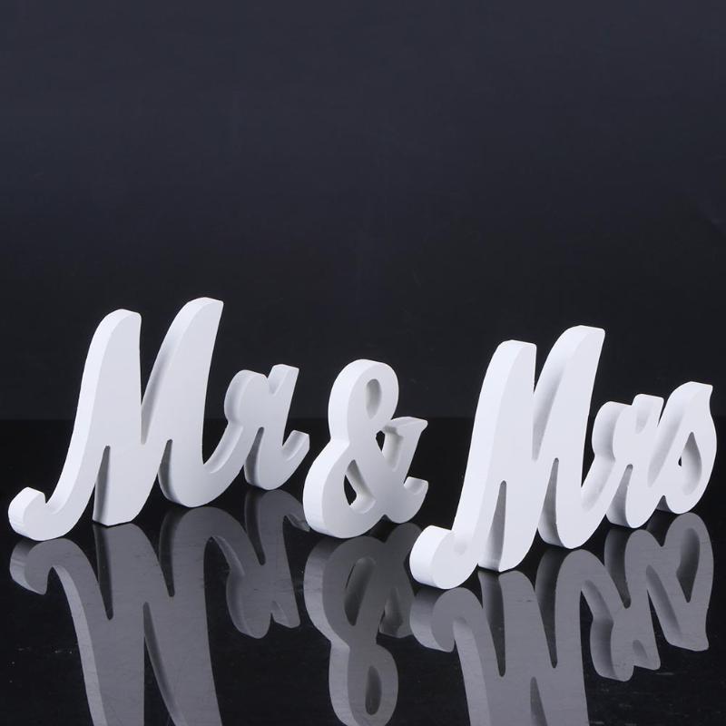 Белый Mr & Mrs английские буквы знак свадебные реквизит стол стоял орнамент Свадебные Обручение партии DIY украшения