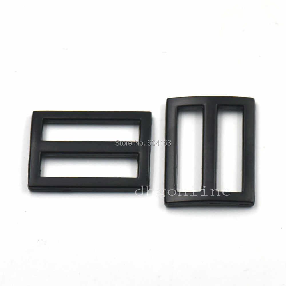 """10 Pcs 1 """"25mm Liga Ajustador Triglides Slides de Couro Cinto Saco Fivelas Clips Preto"""