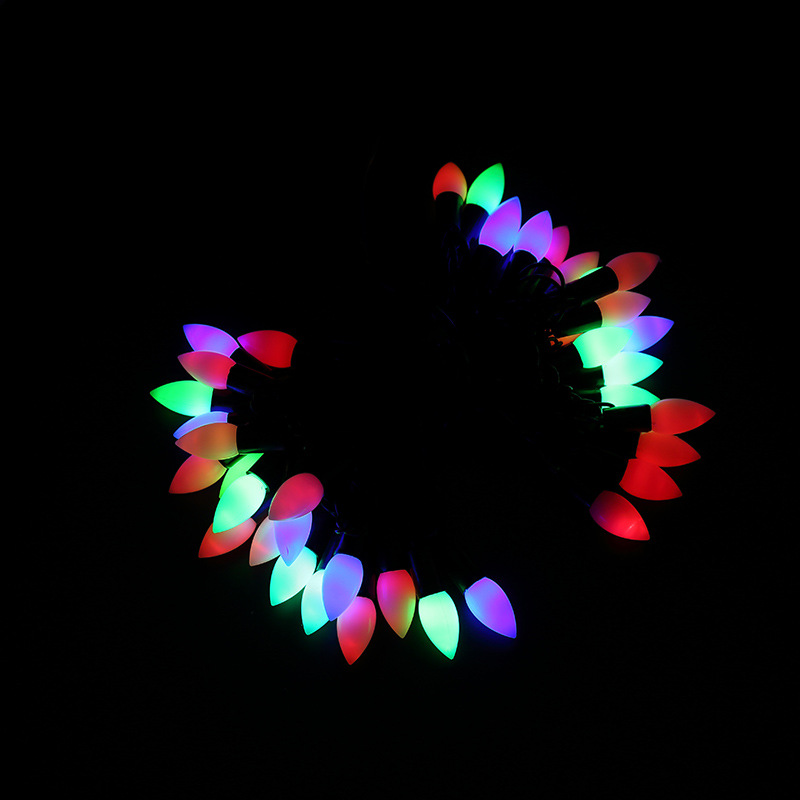 7M 50 LED Black Wire LED String Lights Colorful Star Or Bullet Shape Holiday Christmas Garland For Wedding Xmas Party Decoration