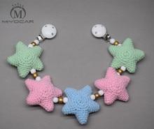 MIYOCAR handmade wood clip colorful Crochet stars stroller toy chain for pram mobile rattle wooden bead crochet