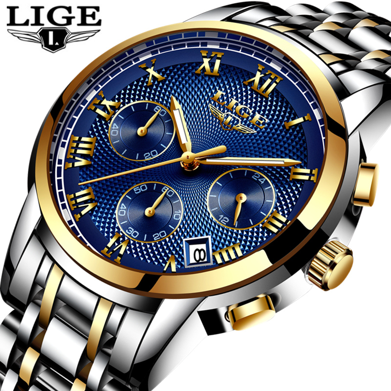 LIGE Mens Watches Top Brand Luxury Fashion Gold Watch Men Quartz Clock Waterproof Sport Wrist Full Steel Watch Relogio Masculino
