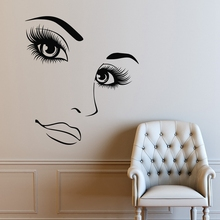Hairdressing Beauty Girl Portrait Wall Art Decals Woman Long