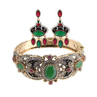 Vintage Turlish Women Earrings Bangles Sets Antique Gold Plated Resin Flower Jewelry Earring Bangle Sets India
