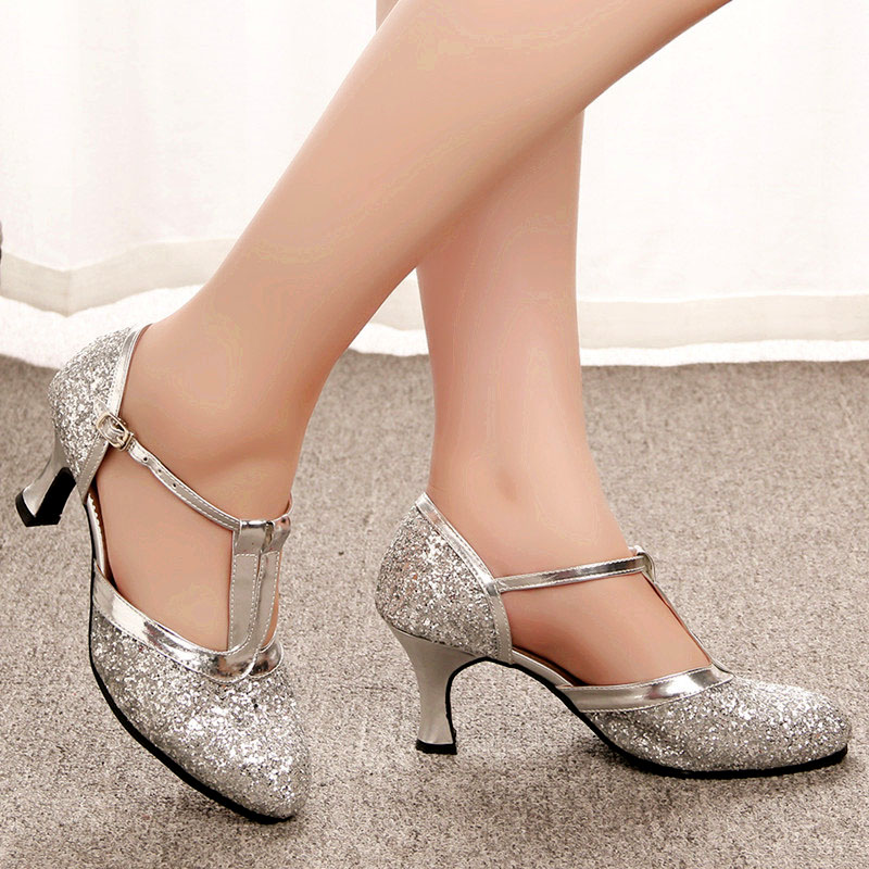 Image 4 - Gold Women Shoes Women Pumps Latin Dance Shoes heeled Low Heels Female Wedding Party Shoes Gold Silver Drop Shipping-in Women's Pumps from Shoes