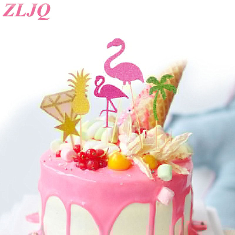 ZLJQ 12PCS Pink Flamingo Cupcake Topper Picks Tropical Hawiian Luau Theme Party Wedding Cake Coconut Tree Pineapple Decoration In Decorating Supplies