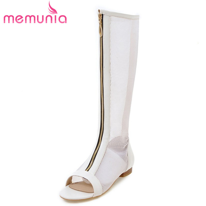 MEMUNIA 2018 new arrive summer women gladiator sandals comfortable leisure shoes woman black white boots hollow out shoes memunia 2018 new arrive women summer sandals sweet bowknot casual shoes simple buckle comfortable square heele shoes woman