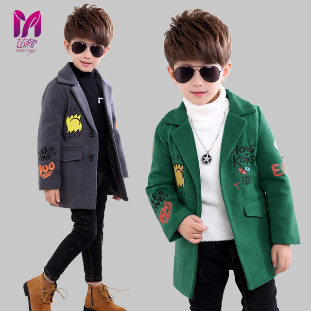 ФОТО Children boys Embroidery letter coat Fashion turn down collar outerwear Long cotton wool Thick woolen baby boy winter coats