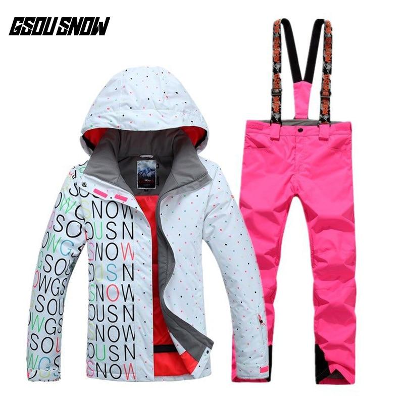 GSOU NEIGE combinaison de Ski En Plein Air Chaud Épais de Femmes Sport Respirant Étanche Double Unique Conseil de Ski Veste de Ski + Pantalon taille XS-L