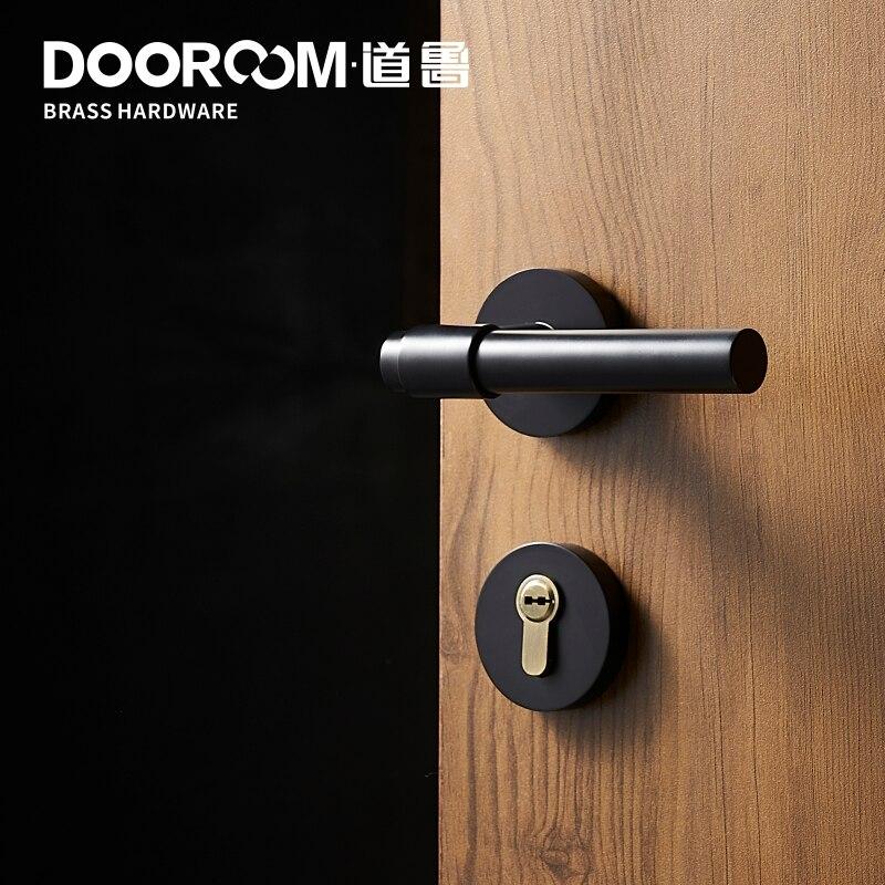 Dooroom laiton levier lumière luxe noir or moderne mode intérieur chambre salle de bains en bois massif porte serrure poignée fendue bouton - 6
