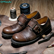 QYFCIOUFU 2019 Formal Round Toe Mens Dress Shoes Casual Genuine Leather Men Oxford Shoes Fashion Buckle Strap Vintage Shoes