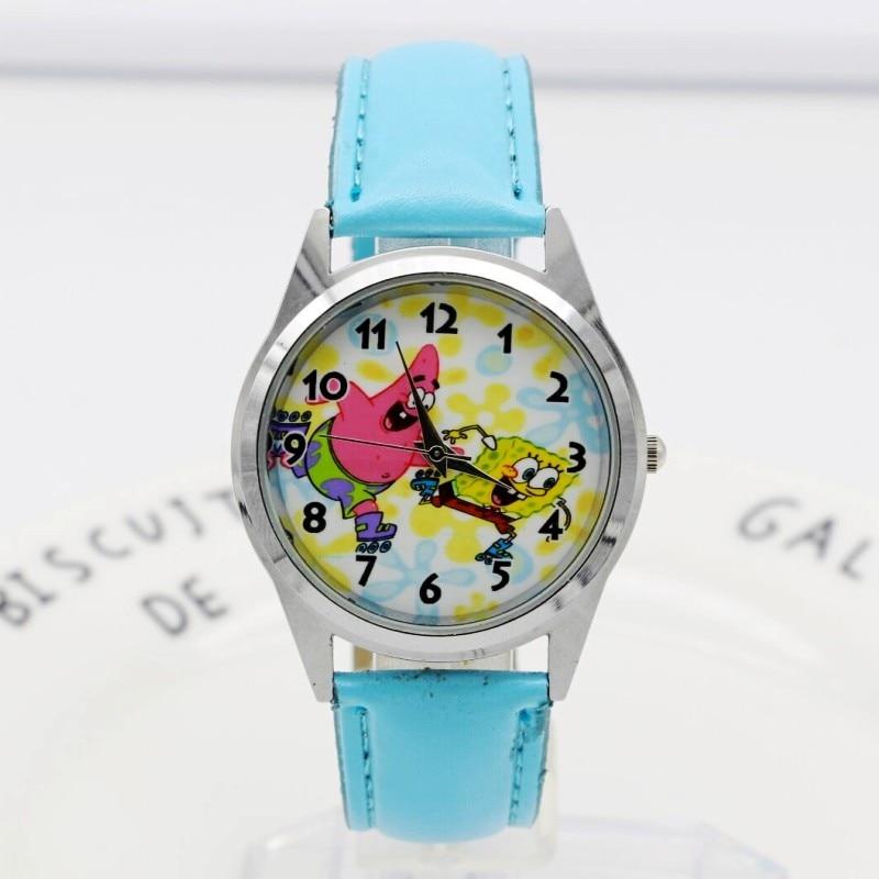2018 New Children Boys Girls Fashion Cool Cartoon Spongebob Quartz Wrist Watches Students Kids Fashion Leather Strap Watch