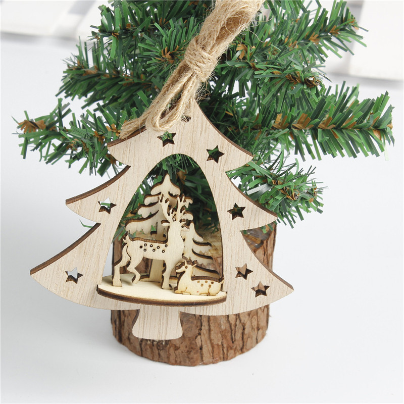 Fashion Christmas Tree Ball Bells Hanging Ornament Hand Made Wooden 3D Home Decorations Festival Gifts In Pendant Drop Ornaments