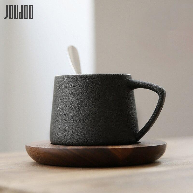 JOUDOO Scrub Taza de Café de Cerámica con posavasos breve tazas de té rojo de la tarde de alta calidad para el hogar Oficina café leche helado taza 35