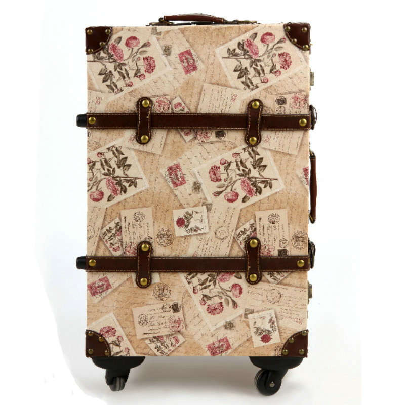 Vintage stamp luggage trolley luggage universal wheels luggage suitcase password box,14 20 22inch retro euro fashion luggages