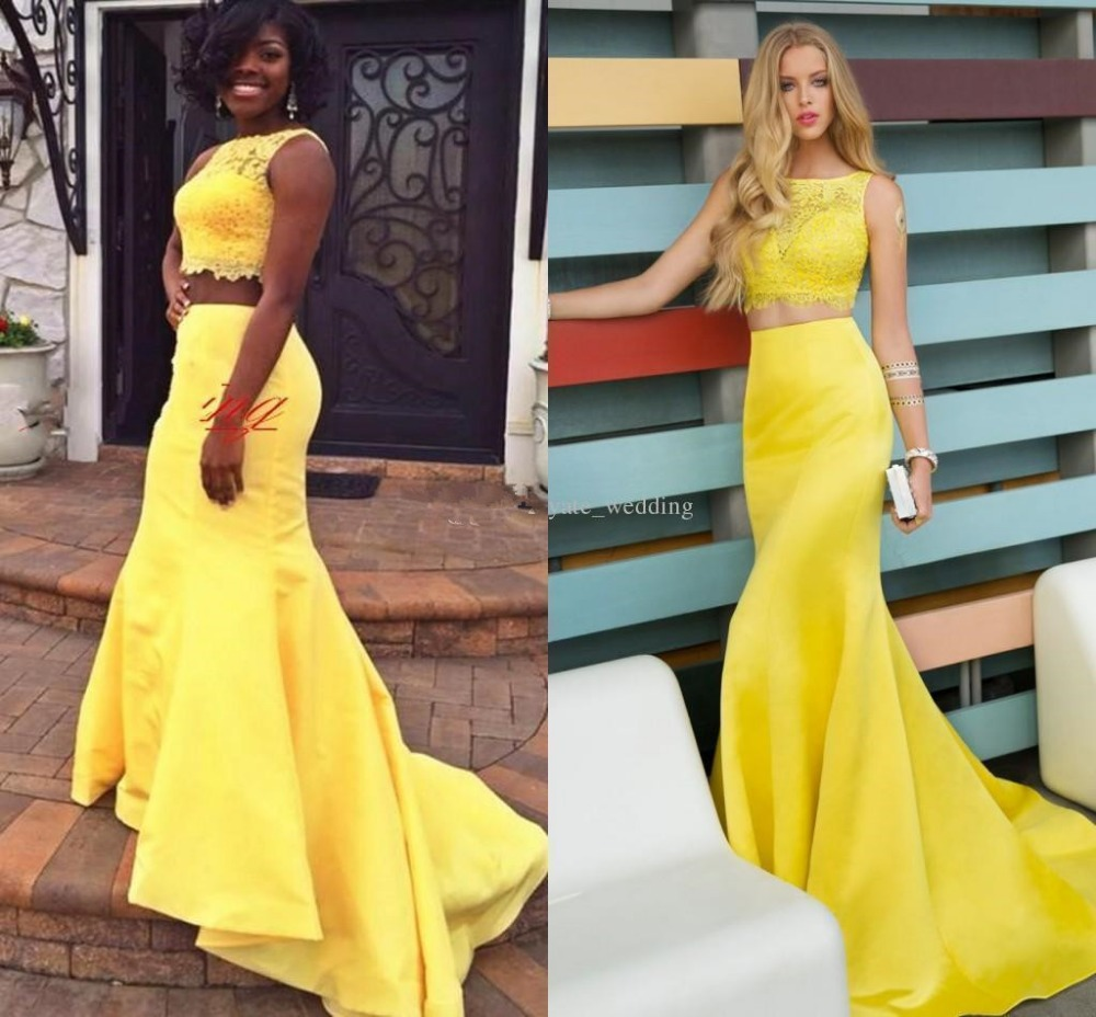 Yellow Lace Two Piece Long   Bridesmaide     Dress