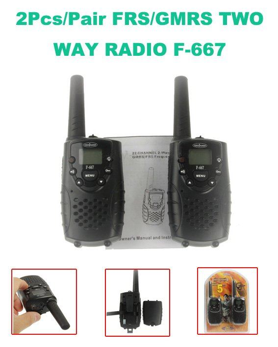 US $28 0 |Hot Sales Mini 22 Channels FRS/GMRS LCD Screen F 667 Two way  Radio (2pcs/ pair) with Built in Flashlight-in Walkie Talkie from  Cellphones &