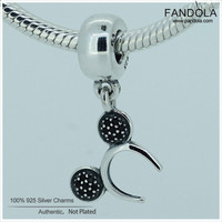 100 925 Steling Silver Headband Black Crystal Dangle Women Charm Beads For Jewelry Making Fits Pandulaso