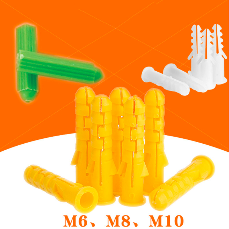 50pcs M6 M8 M10 Ribbed Plastic Anchor Wall Plastic Expansion Pipe Tube Wall Plugs For M3 M4 M5 M6 M8 Self-tapping Screws
