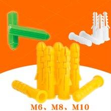 50 шт. M6 M8 M10 ребристые пластиковые анкерные Настенные Пластиковые расширительные трубы для M3 M4 M5 M6 M8 саморезы