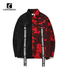 New Fashion High Street Mens Jeans Jackets Black Red Camouflage Bomber Men and Coats Casual Streetwear