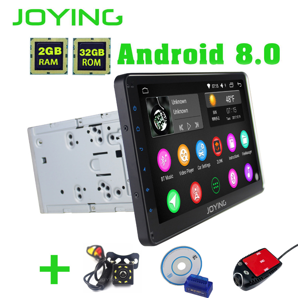 JOYING 10.1'' touch screen 2 din Android 8.0 Car Radio PX5 Octa Core 2GB+32GB GPS Navigation Video Out Stereo Audio FM/AM Wifi android 7 1 double din car stereo car gps navigation 7 car radio head unit bt wifi swc octa core 2gb 32gb rom am fm 4g dongle