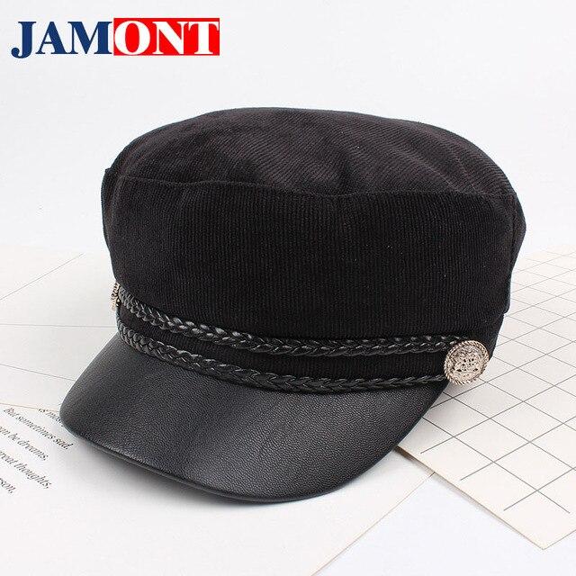2018 Black Hats For Women Cap Autumn Winter Corduroy Cap Trendy Navy Cap  Sailor Caps Flat Top Hat Female Octagon Gorras Mujer 2081e862531