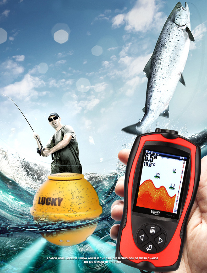 FF1108 1CWLA LUCKY Colored Wireless Fish Finder Operational Range 60 m Rechargeable Battery Portable