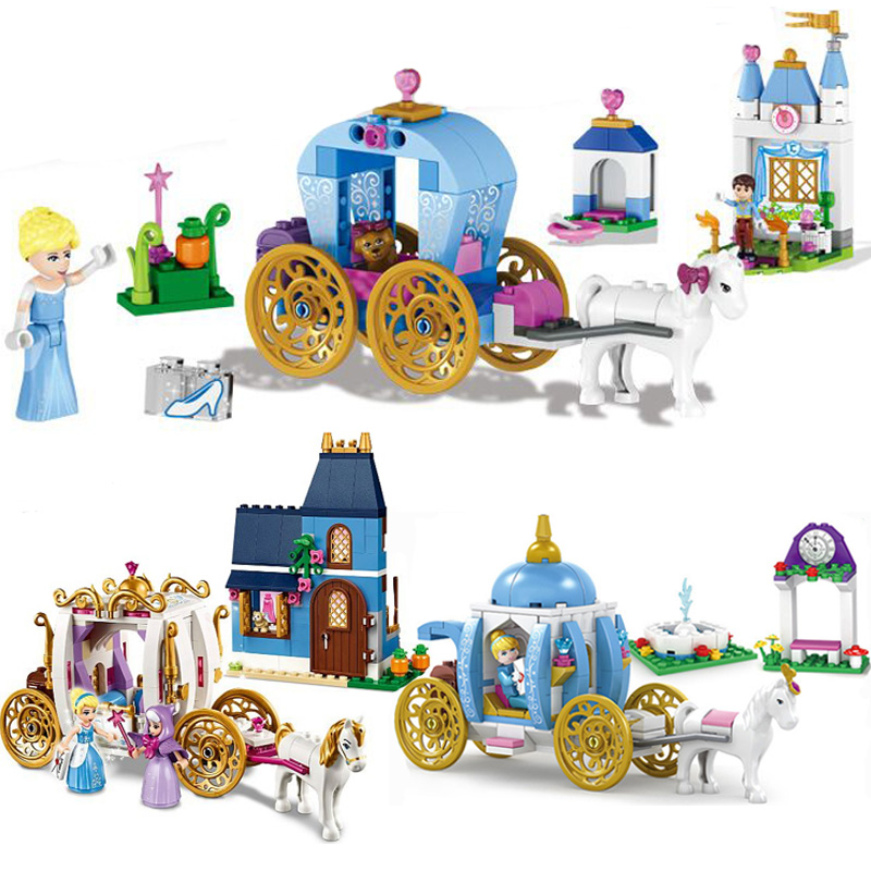 Girl Building Blocks Friends Princess Cinderella Pumpkin Carriage Set Best gift for girls Compatible with LegoINGly Duploe 41053 diy 117pcs princess dream castle park larger particles building blocks toy kids girl best gift compatible with legoed duploe