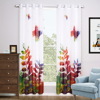 Printed tulle Curtains For Living Room Modern European Style butterfly sheer Curtains for Window (One Panel)