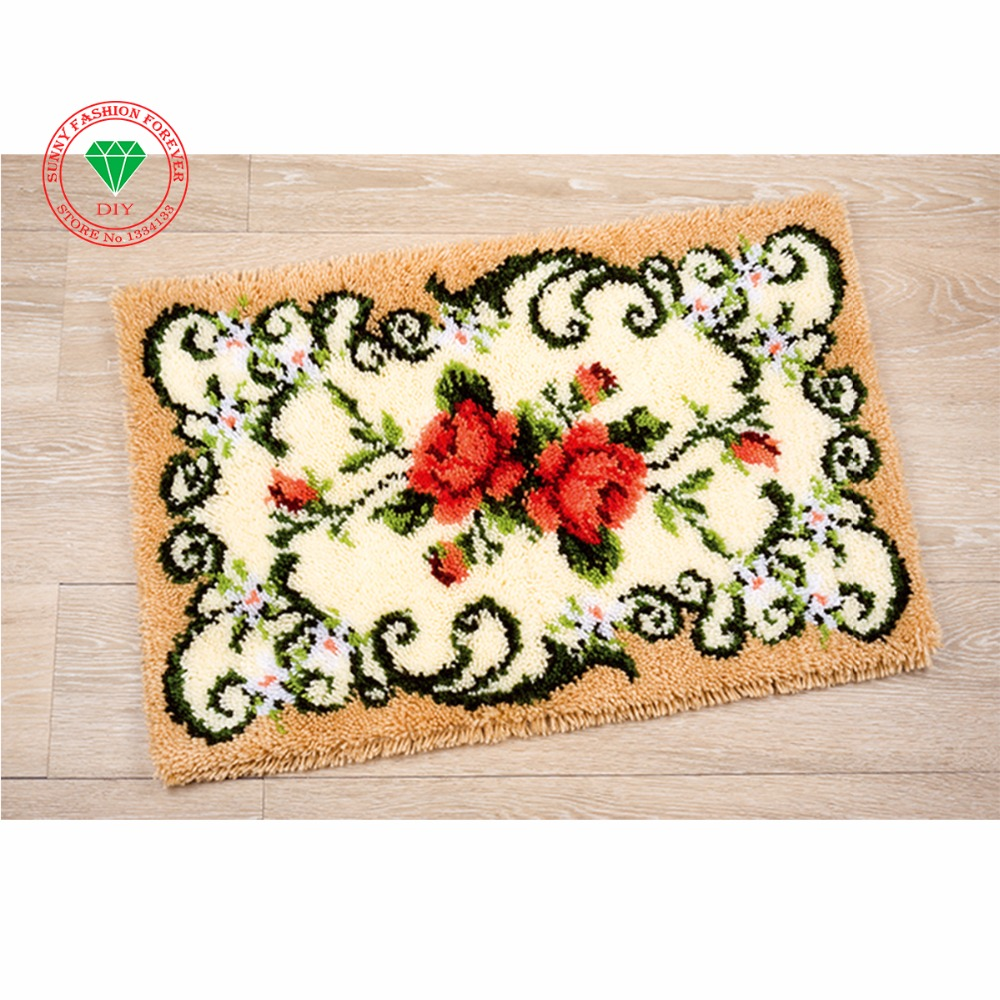 Flowers DIY Needlework cross stitch thread embroidery kits Carpet  embroidery Latch hook rug kits rugs carpets Crochet hook Craft c51188e83c8f
