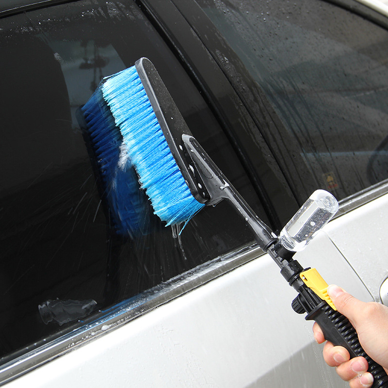 New Blue Car Wash Brush Hose Adapter Cleaning Water Spray Car Cleaning Brush Vehicle Truck Washing Care Accessories