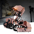 Cochecito de bebé 2 en 1 3 en 1 choque plegable plegamiento recién nacido bebé carro bebé oro Rusia envío gratis