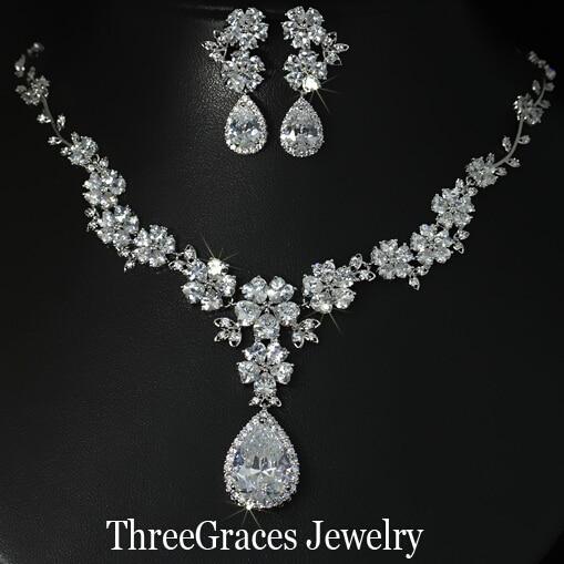 De lujo de Novia de La Boda Grande de La Flor Gota Pendientes Y Collar Conjunto de Joyas Para Novias AAA + Cubic Zirconia Diamante Creado JS033