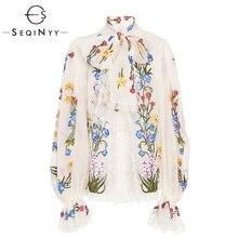 SEQINYY Chiffon Blouse 2019 Summer Spring New Fashion Design Women Long Lantern Sleeve Colorful Flowers Printed White Shirt