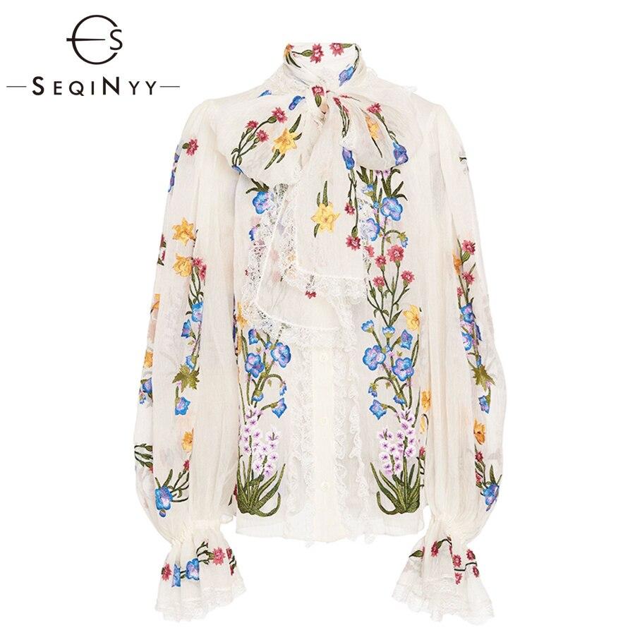 SEQINYY chemisier en mousseline de soie 2019 été printemps nouveau Design de mode femmes à manches longues lanterne fleurs colorées imprimé chemise blanche