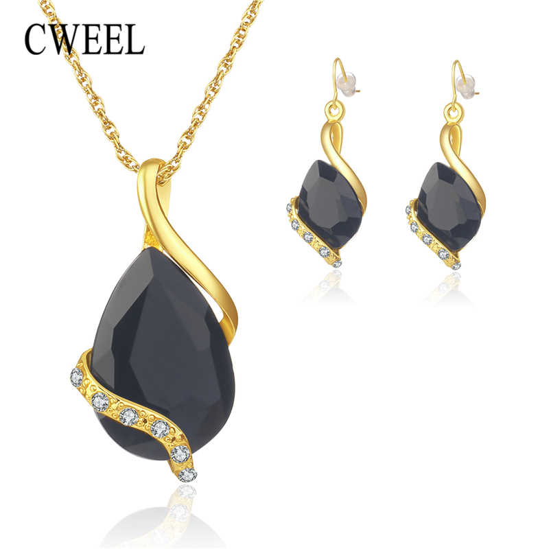 CWEEL Bridal Wedding Jewelry Sets Women Fashion Imitation Crystal Costume Jewellery Nigerian African Beads Jewelry Necklace Set