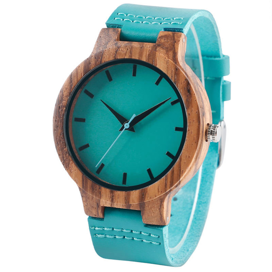 Fashion Blue Wood Quartz Watch Analog Genuine Leather Band Handmade Bamboo Wooden Wristwatch for Men Women Creative Gift Sport Clock (4)