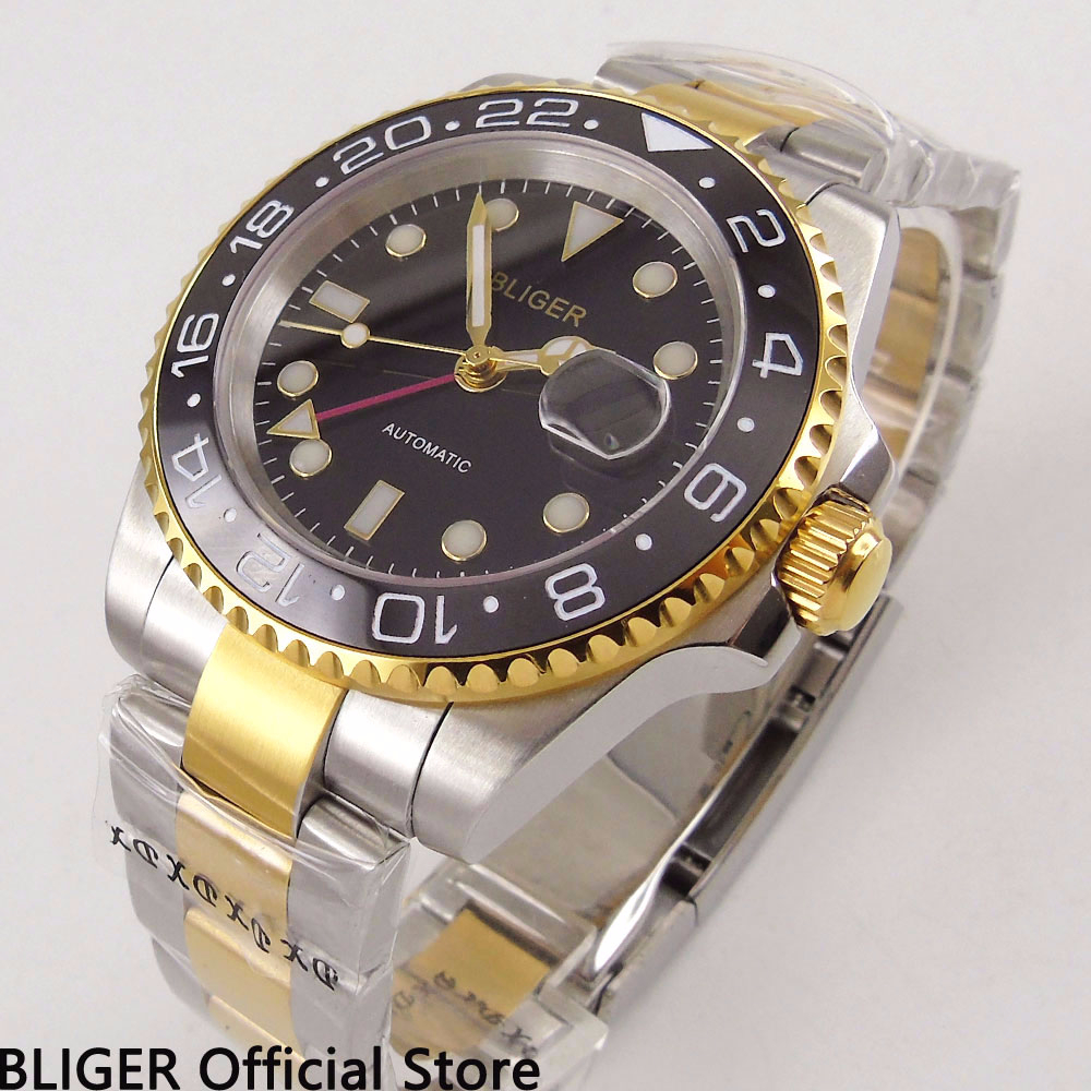 BLIGER 40MM Black Face Mens Watch Ceramic Bezel GMT Function Gold Plated Watchcase Sapphire Automatic Movement Wrist Watch BLIGER 40MM Black Face Mens Watch Ceramic Bezel GMT Function Gold Plated Watchcase Sapphire Automatic Movement Wrist Watch