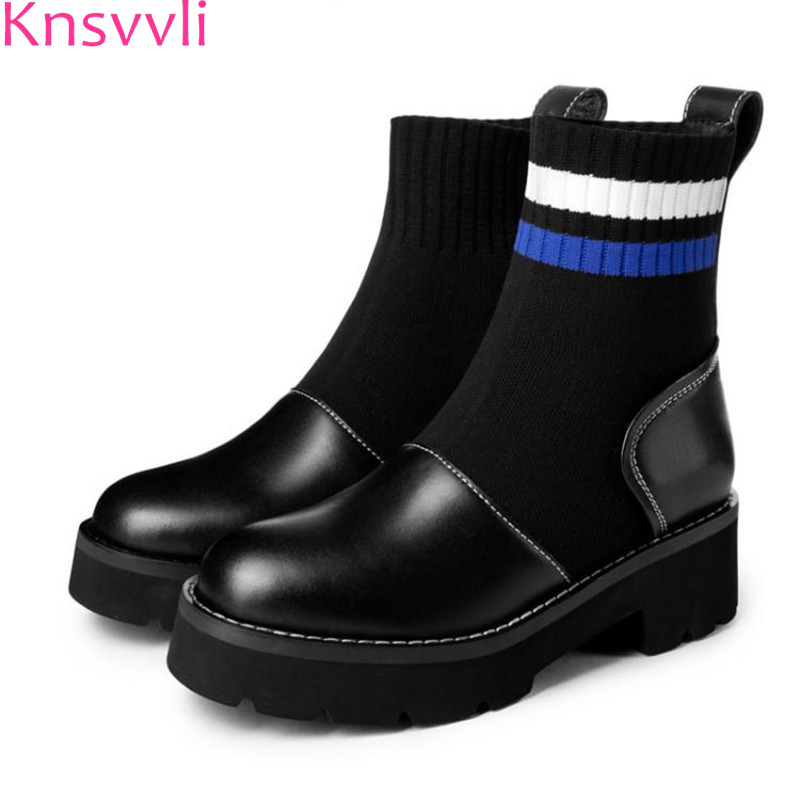 цена на Knsvvli Stretch Sock Boots Women Cowhide Patchwork Knitting Wool Martin Boots Woman Black Chunky Heel Women Motorcycle Boots