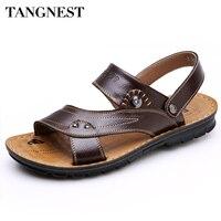 Tangnest Yaz Sandal 2017 Yeni erkek PU Deri Sandalet Erkekler Moda Serin Terlik Erkek Rahat Plaj Ayakkabı Adam Yassı XML098
